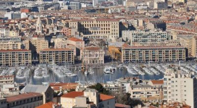 Aerial view of the Old Port Marseille