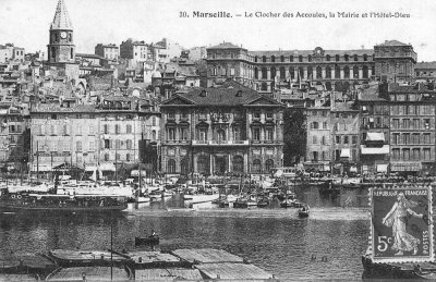 Historic postcard of Marseille's Old Port with the Hotel Dieu