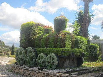 Topiary train at entrance to La Ciotat