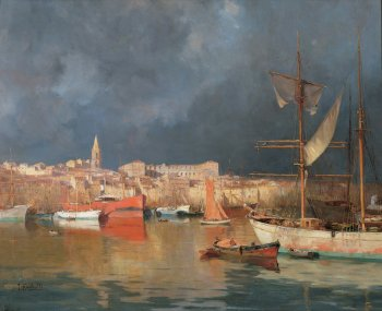 Storm over the Old Port of Marseille by Joseph Garibaldi