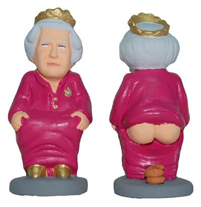"A ""caganer"" santon of Queen Elizabeth"