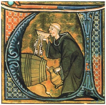 Monk drinking wine from an illuminated manuscript