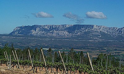 Mont Sainte Victoire with vineyards