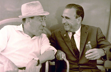 Pastis inventor Paul Ricard with the comedian Fernandel