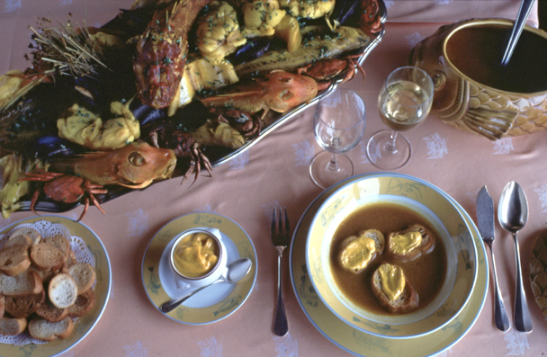 Bouillabaisse served at the table