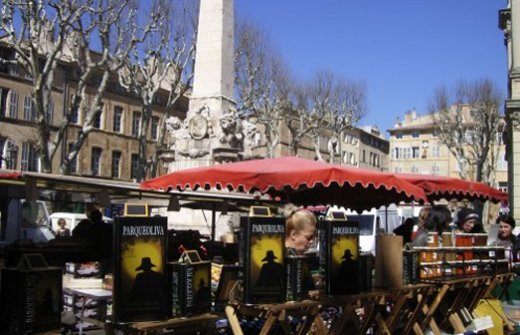 Olive oil stall at Aix en Provence street market
