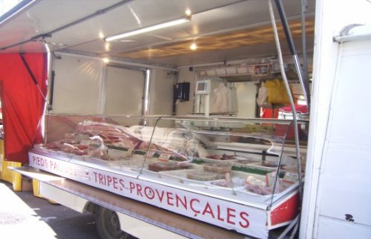 Tripe and pieds et paquets stall at Aix en Provence street market