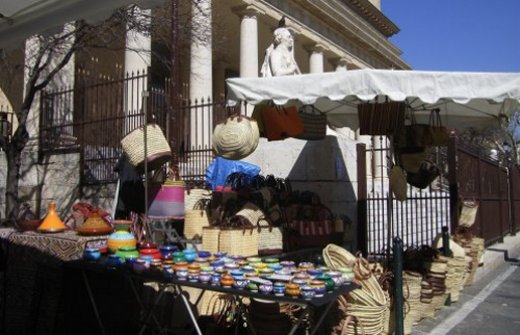 Colourful pottery stall at Aix en Provence street market