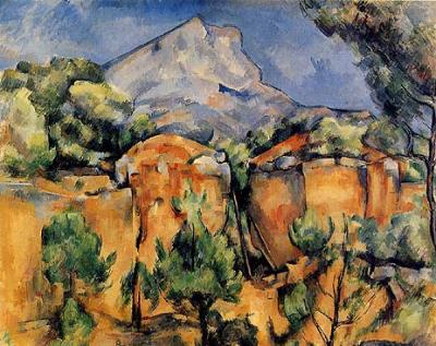Mont Sainte Victoire seen fromBibemus by Paul Cezanne