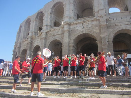 A local peña band in front of the amphitheatre at the Arles Feria