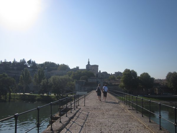 View along the Pont d'Avignon to the Palais des Papes