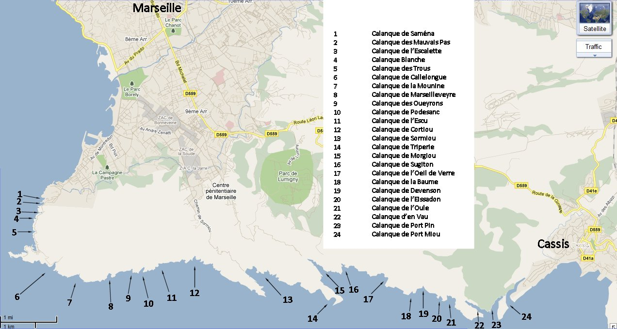 Map of the calanques between Marseille and Cassis