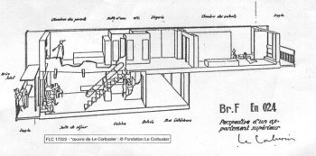 Cross-section of an apartment in le Corbusier's Radiant City, Marseille