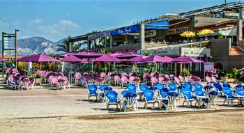 Beach bars at Plage Borely, Marseille