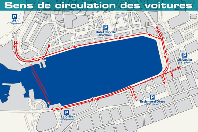One-way traffic system around Marseille Old Port