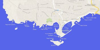 bandol beaches map small