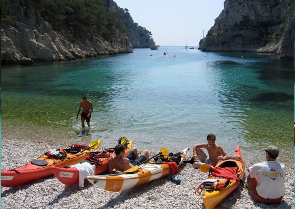 Kayaks in the calanques
