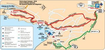 Map of Cassis with out-of-town car-park and shuttle bus routes