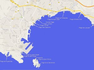 Small-scale map of the beaches of La Ciotat