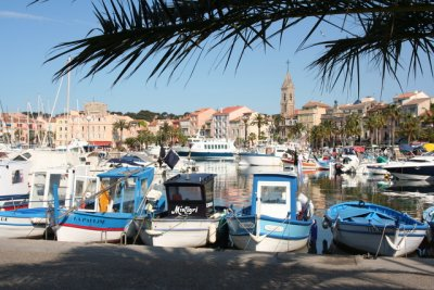 Traditional fishing boats in the harbour of Sanary