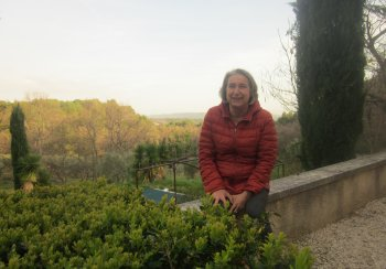 Paula on the terrace at Ferme Gerbaud