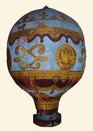 Early hot-air balloon manufactured by the Montgolfier brothers