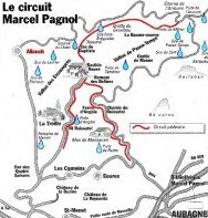 Map of hiking trails in Marcel Pagnol country