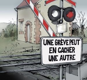 Cartoon about French rail strikes