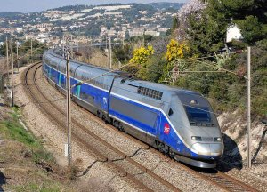 TGV train passing through Provence