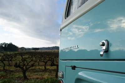 VW camper van parking at a French vineyard