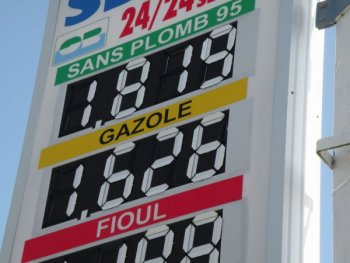 Petrol station sign, France