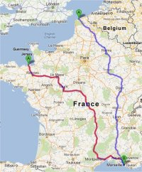Map of quickest driving routes to Provence