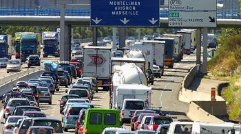 Traffic jam on a motorway in Provence