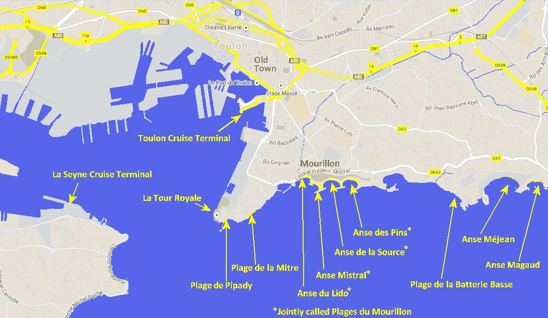 Beaches in Toulon Travel and Tourism in Provence – Toulon Tourist Map