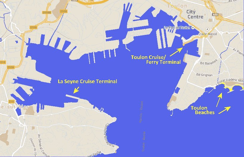 Toulon Cruise Ship Ports Travel and Tourism in Provence – Toulon Tourist Map